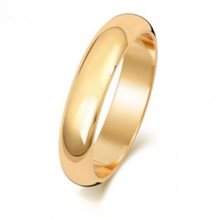 Yellow GOLD WEDDING RING 9K D SHAPE 4 MM, W104M
